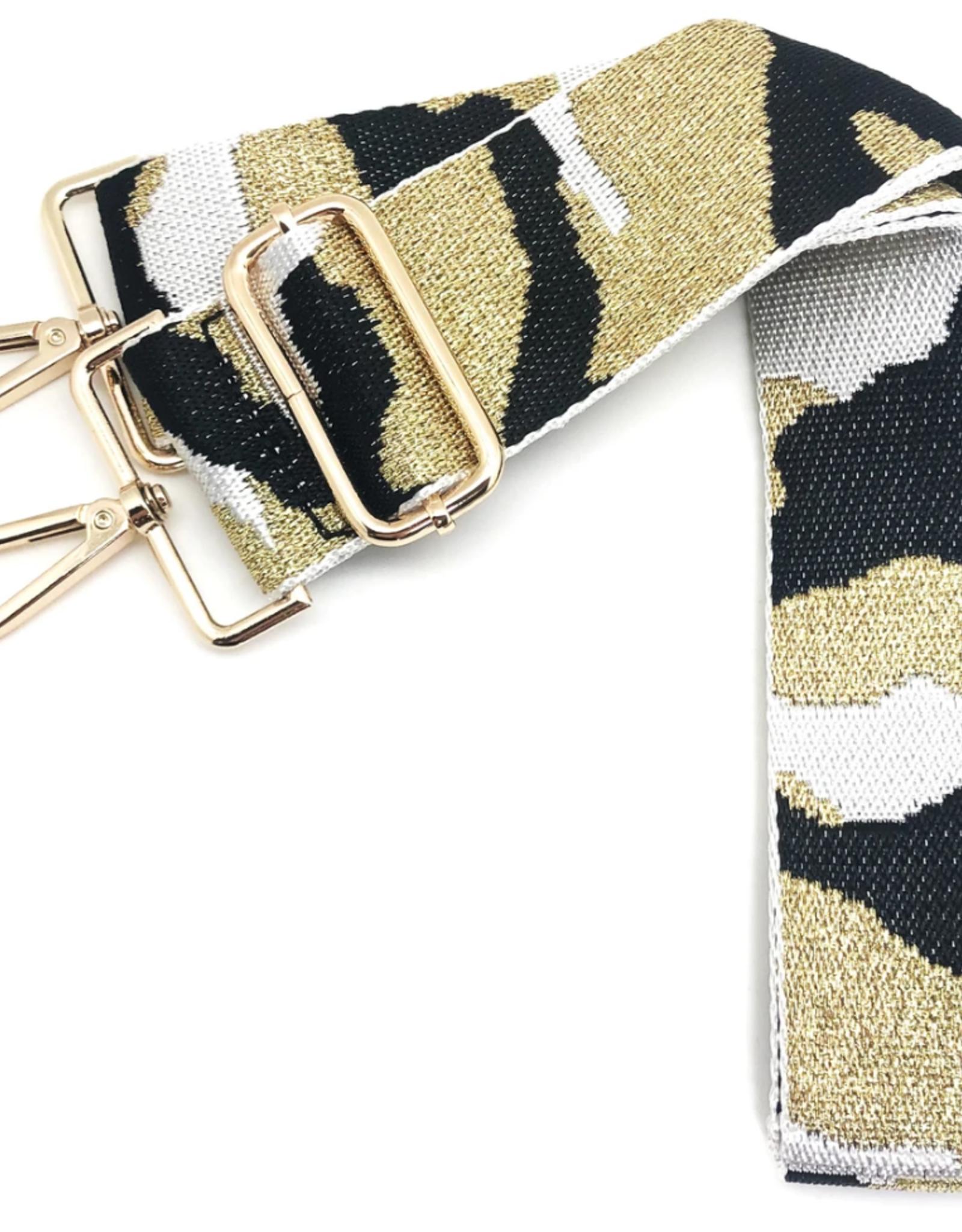 CTHRUPURSES Canvas Camo in  White & Metallic Gold  Strap Gold Buckle