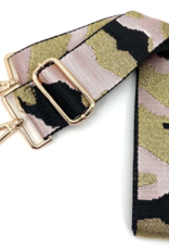 CTHRUPURSES Canvas Camo in Lt. Pink  & Metallic Gold  Strap Gold Buckle