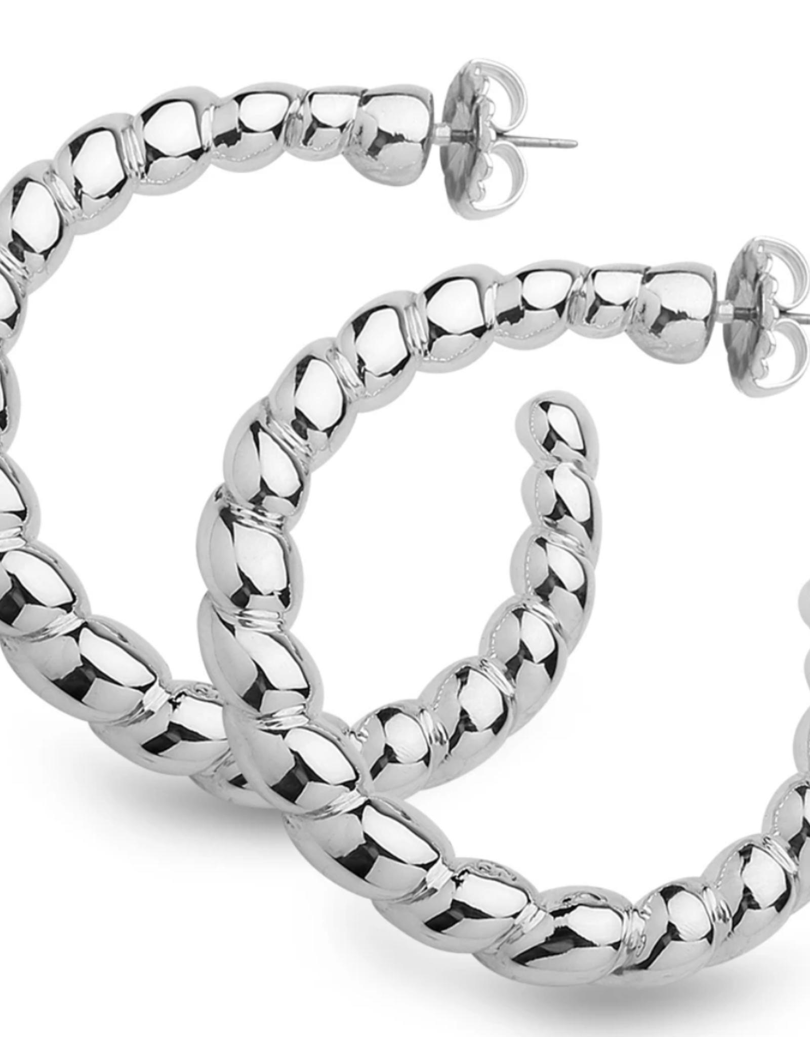 Simon Sebbag Designs Sterling Silver Earrings Roped Hoop
