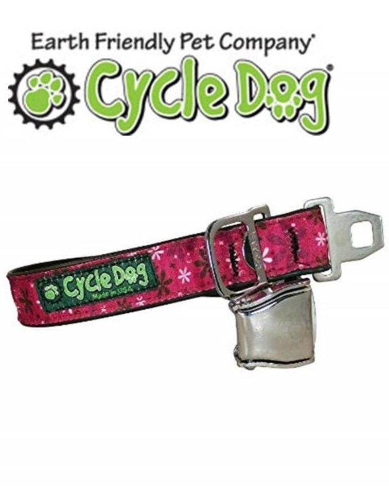 Cycle Dog Collar Retro Pink Flowers With Latch Lock Metal Buckle