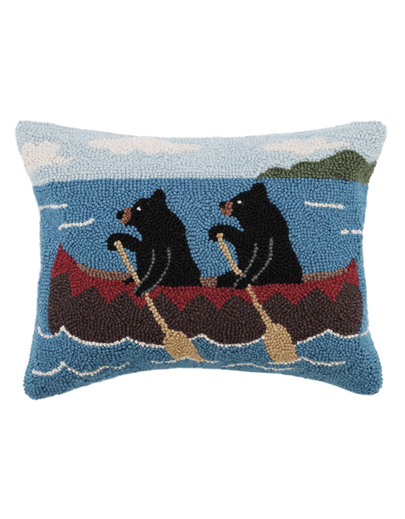 Pillows - Hooked Bears In Canoe Pillow
