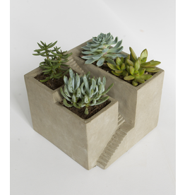 Containers Triple Opening Cement Stair Planter