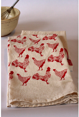 Tea Towels Red Chickens & Roosters Tea Towel