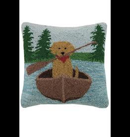 Pillows - Hooked Golden Lab Canoe Pillow