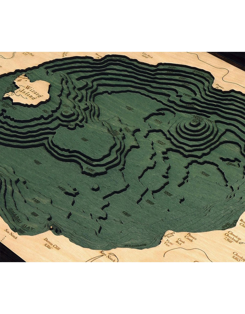 Wall Decor Crater Lake 3D Wood Chart