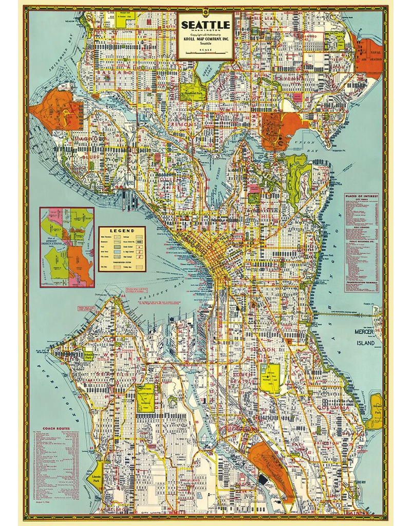 Gift Wrap Seattle Map Gift Wrap