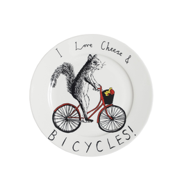Dinnerware Love Cheese & Bicycles Squirrel Plate