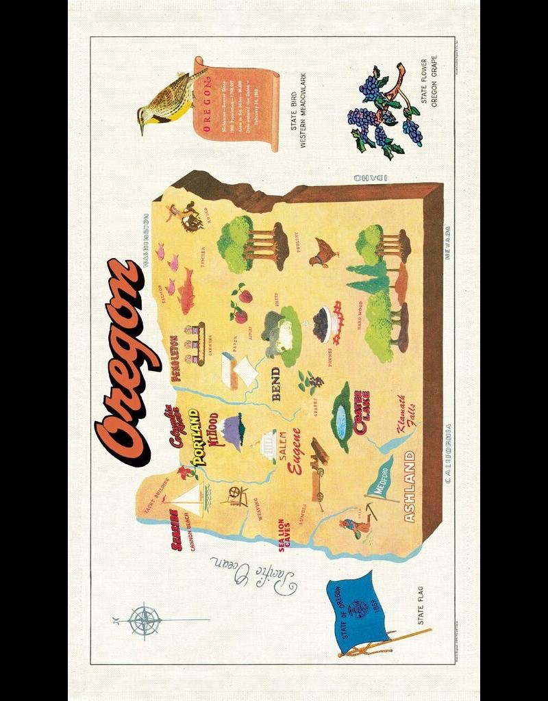Tea Towels Oregon Vintage Map Tea Towel