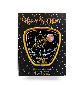 Greeting Cards - Birthday Night Owl Patch Birthday
