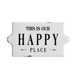 Plaques Happy Place Enamel Sign