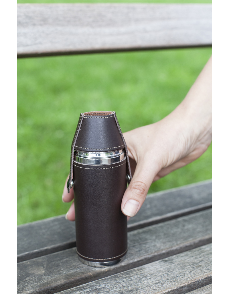Barware Camping Leather Flask Set