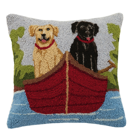 Pillows - Hooked Lab Duo In Canoe Pillow