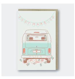 Greeting Cards - Wedding Just Married Camper Van Greeting Card