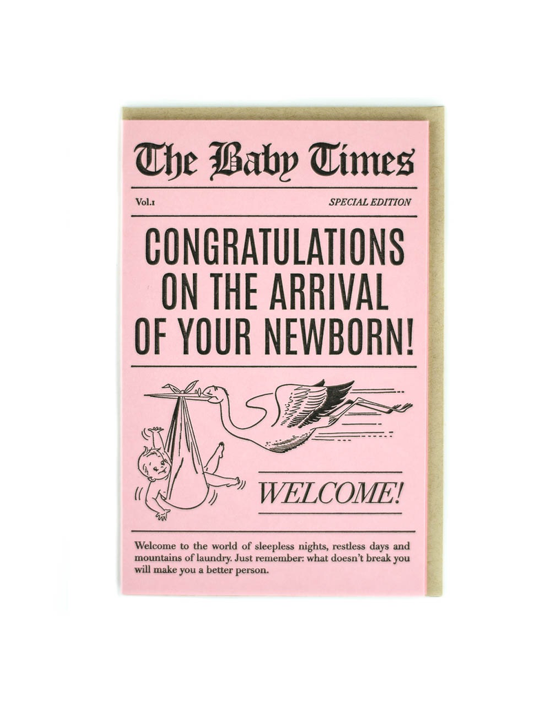Greeting Cards - Baby Baby Times Newborn Girl Greeting Card