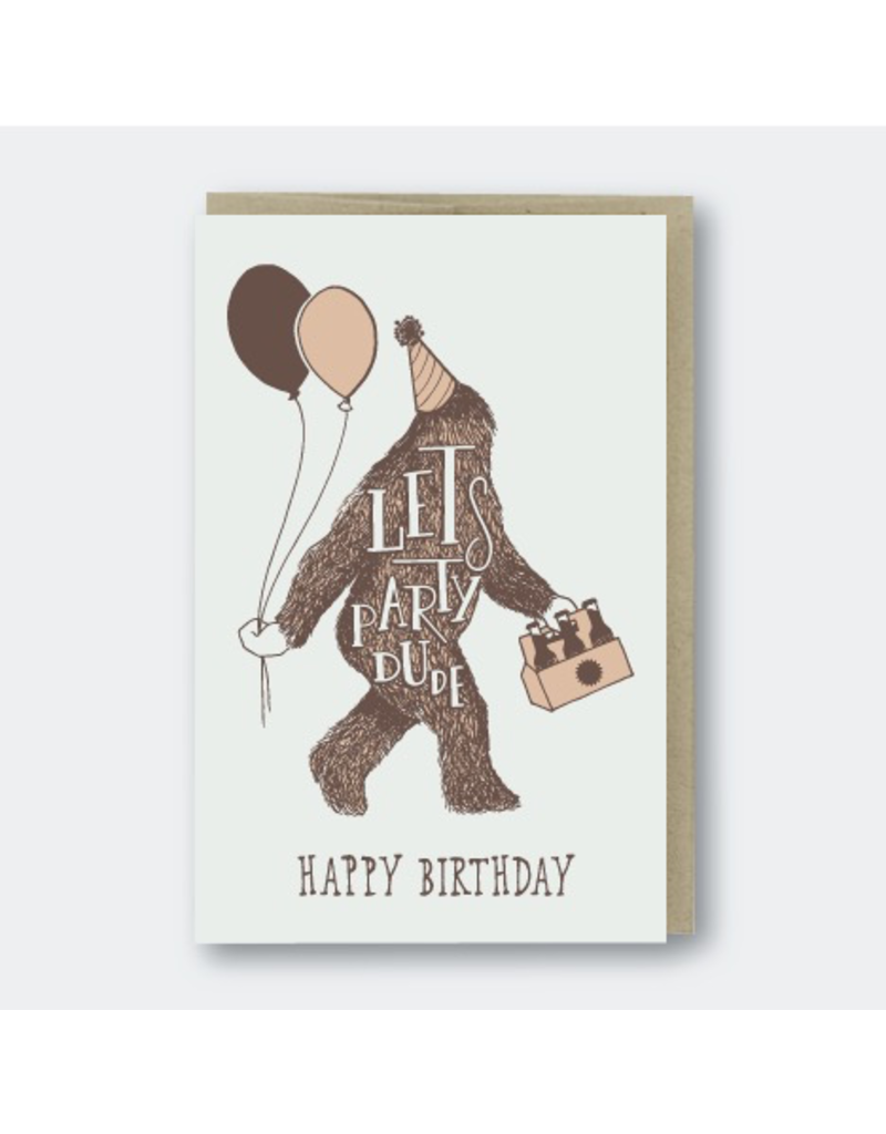 Greeting Cards - Birthday Sasquatch Party Birthday Greeting Card
