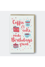 Greeting Cards - Birthday Coffee & Cake Birthday Greeting Card