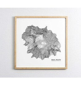 Prints Mount Rainier Topo 12x12 Print