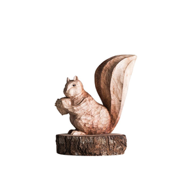 Figurines Carved Wood Squirrel Figure