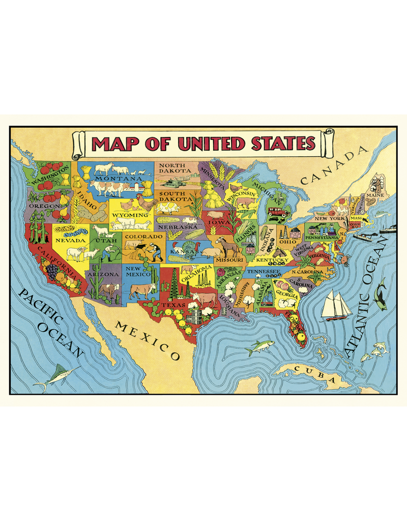Gift Wrap Map Of The United Sates