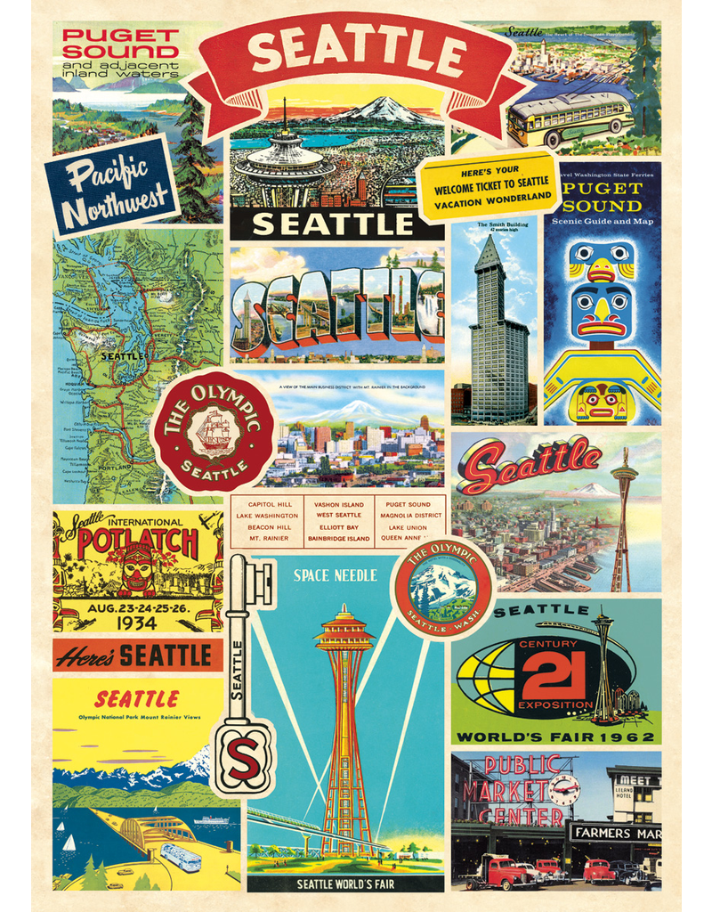 Gift Wrap Seattle Collage Wrap
