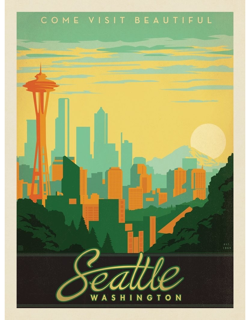 Prints Seattle Skyline 11x14 Print