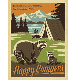 Prints Happy Campers Raccoons 18x24 Poster