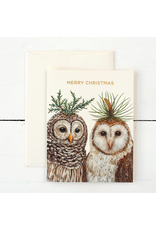 Greeting Cards - Christmas Winter Owls Holiday Card