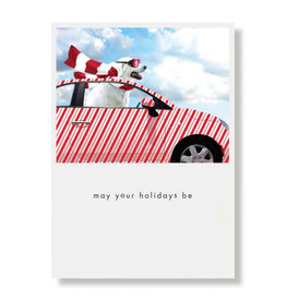 Greeting Cards Candy Striped Car Holiday Card