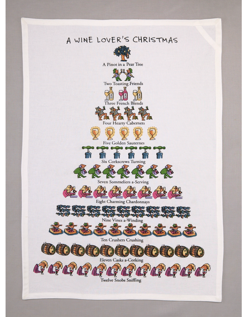 Dish Towels Wine Lover's 12 Days of Christmas Tea Towel