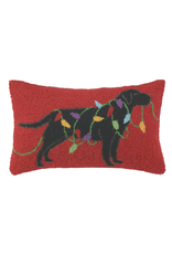 Pillows - Hooked Black Lab With Lights Pillow