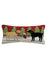 Pillows - Hooked Playful Christmas Dogs Pillow