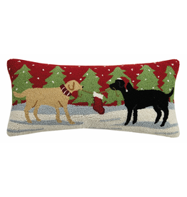 Pillows - Hooked Playful Christmas Dogs Pillow