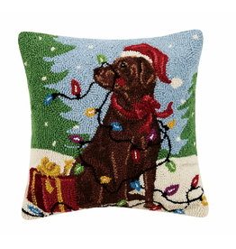 Pillows - Hooked Chocolate Lab With Lights Pillow