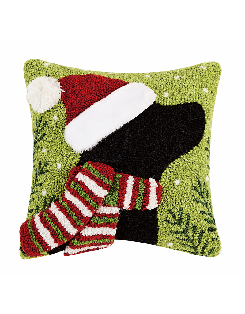 Pillows - Hooked Christmas Lab With Scarf Pillow