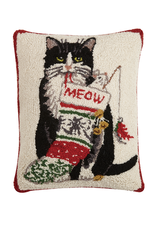 Pillows - Hooked Cat Meow Christmas Pillow
