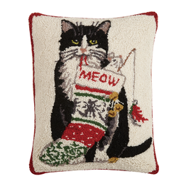 Pillows - Hooked Cat Meow Christmas Pillow