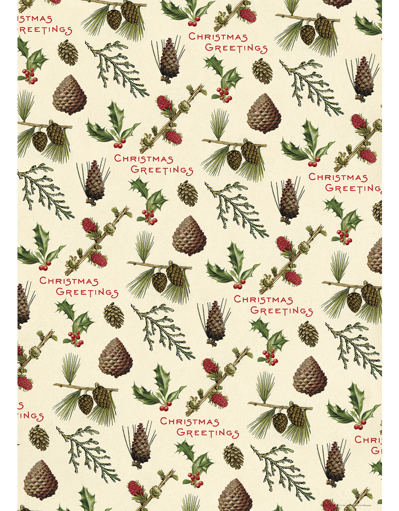 Gift Wrap Christmas Pine Cones Wrap