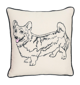 Pillows - Embroidered Corgi Pillow
