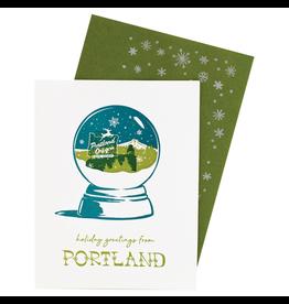 Greeting Cards Portland Snowglobe Single Card