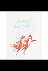 Greeting Cards - Christmas Skating Foxes Single Card