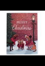 Greeting Cards - Christmas Caroling Dogs Christmas Single Card