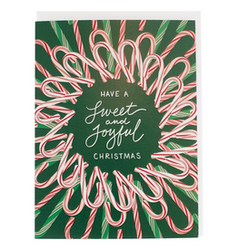 Greeting Cards - Christmas Sweet Candy Cane Wreath Single Card