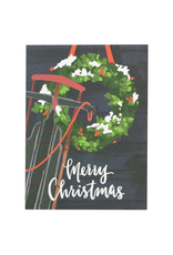 Greeting Cards - Christmas Wreath & Sled Christmas Single Card