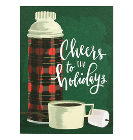 Greeting Cards Plaid Thermos Holiday Single Card