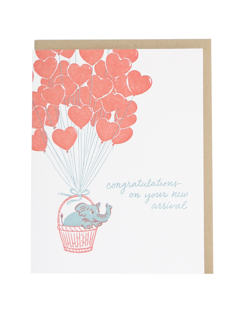 Greeting Cards - Baby Elephant In Ballon Basket Baby Single Card