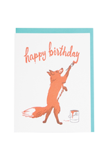 Greeting Cards - Birthday Fox Painter Birthday Single Card