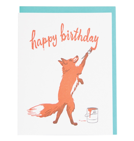 Greeting Cards - Birthday Fox Painter Birthday Single Card