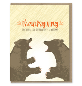 Greeting Cards - Thanksgiving All The Relatives Thanksgiving Single Card