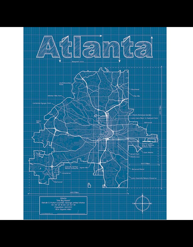 Prints Atlanta Blueprint 18x24 Poster