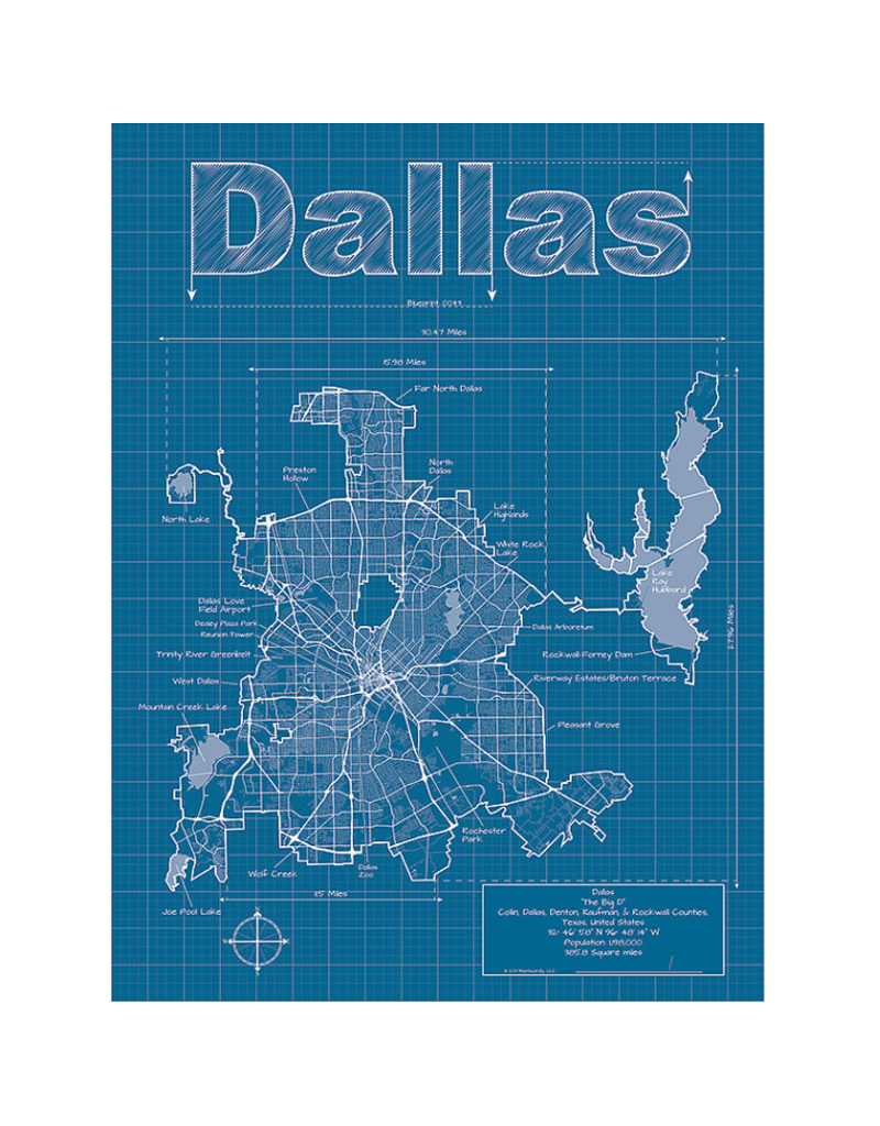 Prints Dallas Blueprint 18x24 Poster
